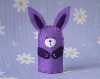Lavender Bunny Finger Puppet - Felt Finger Puppet Bunny Rabbit - Felt Animal Puppet Bunny - Easter Bunny Finger Puppet Toy