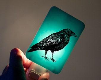 Raven Nightlight on Aqua Blue Fused Glass Night Light - Gift for Baby Shower or Nature Lover - Mysterious Raven Bird