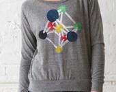 Atomium - Womens Hand Stenciled Slouchy Drapey Scoop Neck Lightweight Sweatshirt in Heather Grey - S M L