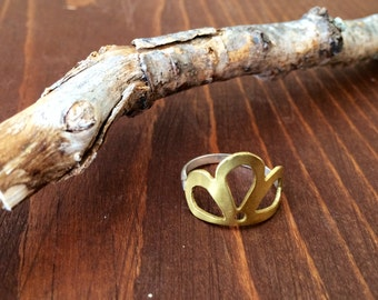 Peacock Ring - Sterling Silver Band Hand-Sawn Brass