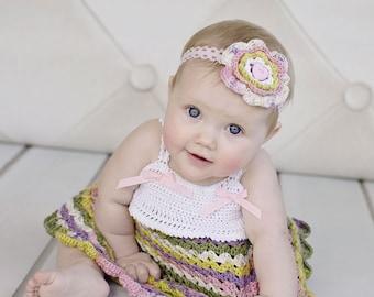 Delanie Dress - Crochet Pattern Sundress And Flower Sizes Newborn - 3T