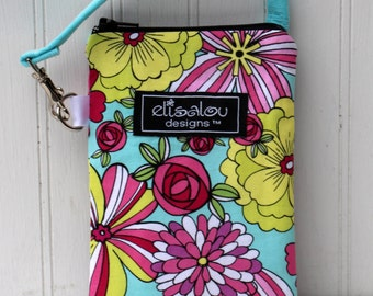 Padded Gadget Pouch Neon Floral- iPhone, iPhone 5, Blackberry, Cellphone, iPod Touch