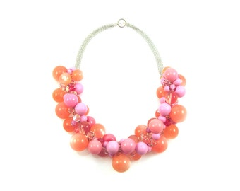Unique Necklace, One of A Kind Necklace, Pink Necklace, Statement Necklace, Pink Statement Necklace, Luxe Statement Necklace, Luxe Necklace