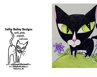 "Greeting Card Set of 3 ""Queen of the Hill"" blank tuxedo cat, or mix and match your own set of 3"