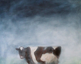 Painting of a cow in the mist - Misty - a print of original oil painting -Cows - art Giclee PRINT
