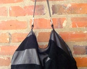 Upcycled Black Leather & Suede Large Slouchy Hobo with Outside Pocket