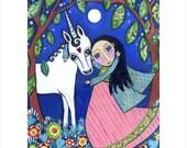 """Girls wall print folk art A3 Unicorn art print painting gift for girl daughter kids wall art magical dream mixed media - ''Honesty"""""""