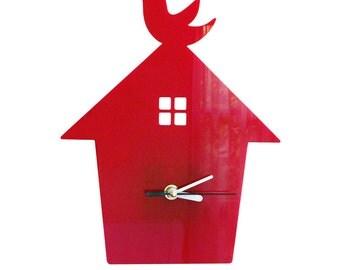 Red Bird House Wall Hanging Clock