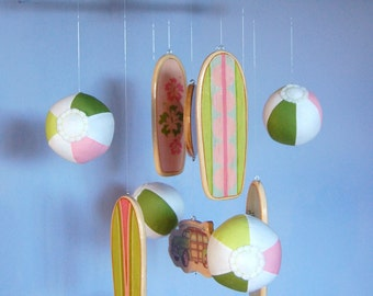 Baby Mobile Beach - Surfboards with Plush Beach Balls - Day at the Beach Mobile - Watermelon Pink Scheme