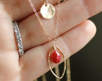 Layered Necklace, Layer Birthstone Necklace, Layered Initial Necklace, New MOM gift, gold initial disc, custom gemstone, ruby birthstone