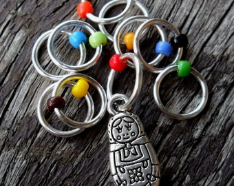 Small Snag Free Knitting Stitch Markers Silver Tone Matryoshka Charm Multi Coloured Seed Beads Fits Needles Up To 5.5mm