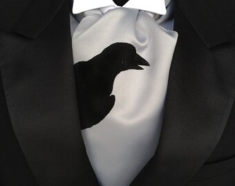 Raven cravat tie. Self tie mens ascot, crow print. Screenprinted formal ascot. Your choice of colors.