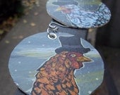 Wyandotte Chickens with Top Hats - hand painted gold earrings