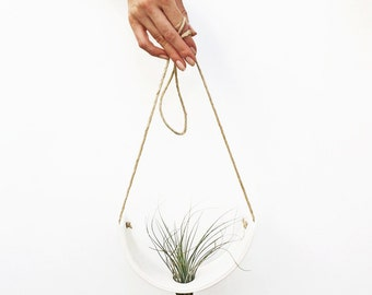 Hanging Planter - Air Plant Cradle - Natural White Earthenware Vase