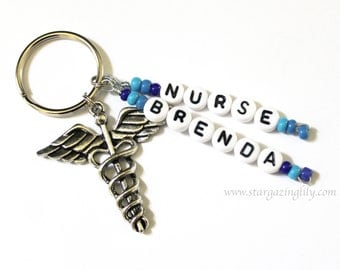 Keychain Personalized with Charm of your choice. Childrens Names, Medical Alert Info, Nursing Gift.