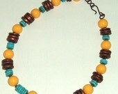 OOAK Yellow Turquoise, Turquoise Blue Acrylic Disks and Copper Colored Wooden Disk Beads Necklace