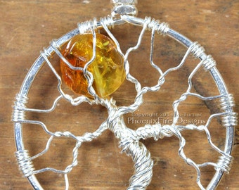Baltic Amber Full Moon Tree of Life Pendant Halloween Orange Silver Wire Wrap Necklace Harvest Moon Necklace Ancient Fossil Tree Resin RTS