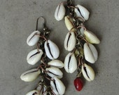 Long Brass Chain Earrings Cowrie Shells Red Coral Dangle Earrings Tribal SydneyAustinDesigns