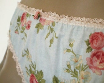 Rose Print Panties Handmade Cotton Knickers Old Fashioned Nostalgic Chintz Underwear 36 Hip And In Custom Sizes