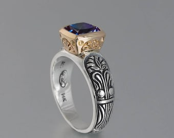 ALEXANDRA silver and 14K gold ring with Alexandrite