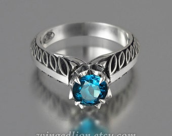 EDELWEISS 14K gold engagement ring with London Blue Topaz