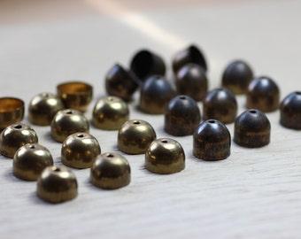 Metal End Caps Brass Bead Caps Rustic Stringing Antiqued Brass Bullet Caps Assortment Lot