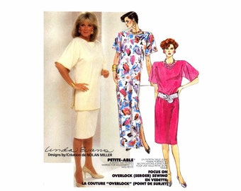 1980s Womens Dress Tunic Skirt McCalls 2536 Vintage Sewing Pattern Full Figure Size 22 - 24 Bust 44 - 46 UNCUT