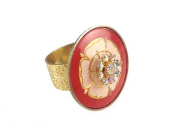 Vintage Garden Tea Party Floral Swarovski Crystal Ring