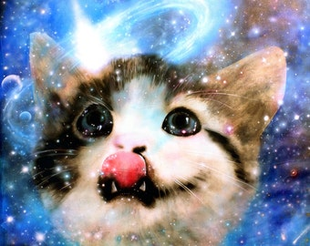 """Galactic Cat  8.5 x 11"""" print by Ray Young Chu (Cat in Space)"""