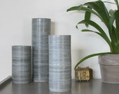 Medium Ceramic Cylinder Vase in Steel Grey