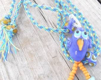 Blue Bird Lampwork Kumihimo Necklace Artisan Handmade SRA LETEAM Glassymom