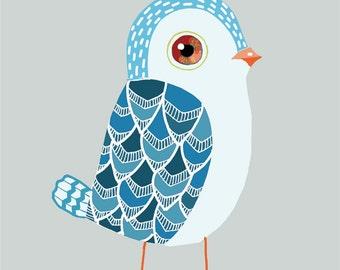 Blue Baby Bird art print - bird print, nursery decor, bird drawing