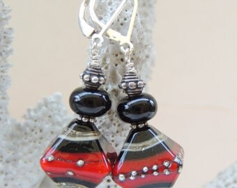 STUNNING STATEMENT Handmade Lampwork Bead Earrings
