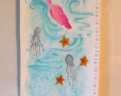 Mermaid Growth Chart starfish under the sea personalized nursery hand painted canvas
