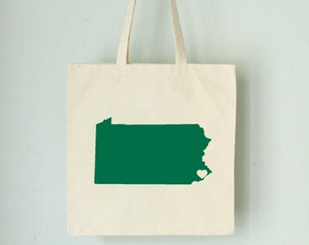 Pennsylvania LOVE Tote PHILADELPHIA green state silhouette heart on natural bag