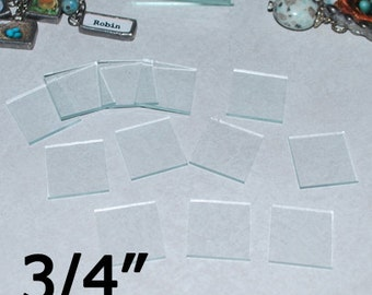 100 Pack - 3/4 x 3/4 Inch Squares -  Clear Pendant Glass for Collage Altered Art Soldered Jewelry.
