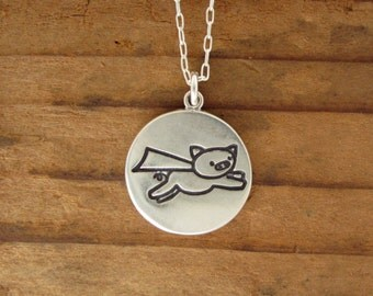 When Pigs Fly Necklace - Sterling Silver Pig Pendant - Reversible Flying Pig Medallion