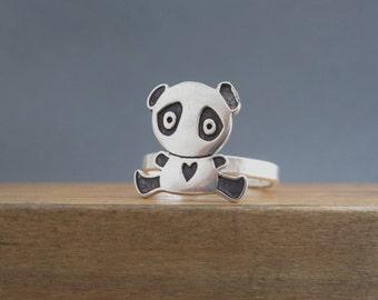 Sterling Silver Panda Ring - Panda Bear Ring Custom Made in Your Size