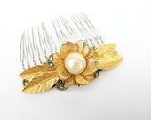 Nostalgic Pearl No.36 - Vintage Faux Pearl Flower and Golden Leaves Assemblage Hair comb - CLEARANCE