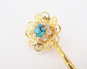 Aquamarine Swarovski Filigree Flower Hair Pin, Gold Plated with Aquamarine and Clear Crystals