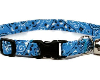 Cat Collar - Sky Blue Bandana - Breakaway Safety Cute Fancy Cat Kitten Collar