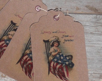 Set of 10 Americana Country Primitive Patriotic Red White Blue USA July 4th Flag Rustic Hang Tags Gift Ties Scrapbooking Ornies Price Tags