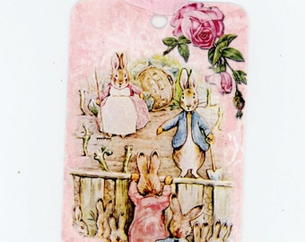 Rabbit Tags - Flopsy and Peter Rabbit - Garden Tags - Pink Tags - Animal Tags , Beatrix Potter Tags , Bluebird Lane