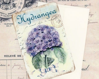 Flat Note Cards , Blank note Cards , Vintage Style Cards , Hydrangea Note Cards , French Hydrangea Cards