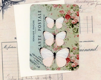 Butterfly Blank Note Cards , Flat Cards , Shabby Note Cards , White Butterfly Cards