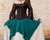 Teal Linen Pixie Skirt Renaissance Halloween Costume