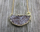 half MOON drusy crystal reddish druzy goldfilled necklace