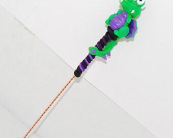 Green & Purple Dragon Spinning Wheel Orifice Hook - Polymer Clay