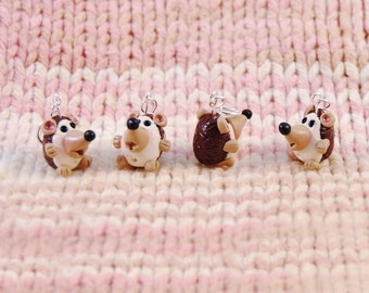 Hedgehog knitting or crochet stitch markers - Set of 4 - Polymer Clay