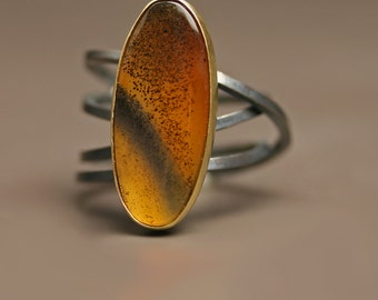 Montana Moss Agate with Swirled Band, 18k Gold and Blackened Silver